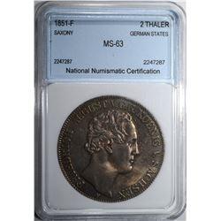1851-F 2 THALER SAXONY NNC CH BU