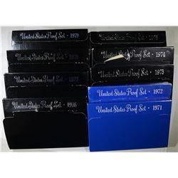 U.S. CLAD PROOF SETS OF 1970'S 10-SETS