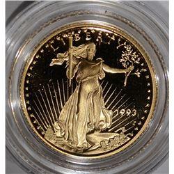 1993 1/10 OUNCE GOLD PROOF AMERICAN EAGLE BOX/COA