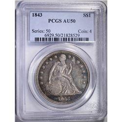 1843 SEATED DOLLAR, PCGS AU-50 NICE COIN