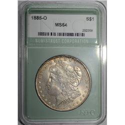 1885-O MORGAN DOLLAR, NTC CH/GEM BU