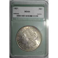 1921 MORGAN DOLLAR, NTC CH/GEM BU