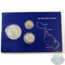 1977 Republic of Malta 3-coin Sterling Silver Central Bank
