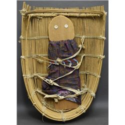 POMO BASKETRY CRADLE AND FLAT DOLL
