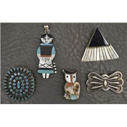 FIVE NAVAJO PIN AND PENDANTS