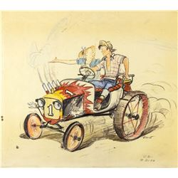 """Tractor Ride"" Hand-Colored Concept Brownline."