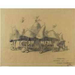 """Mushroom Top Carrousel"" Original Concept Drawing."