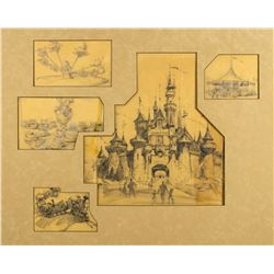 Collection of (5) Original Disneyland Concept Drawings.