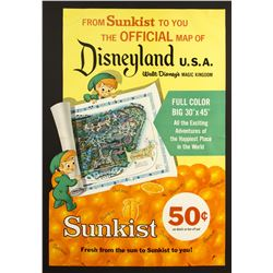 Sunkist Disneyland Souvenir Map Poster Advertisement.