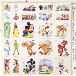 Collection of (25) Disneyland Fun Box Illustrations.