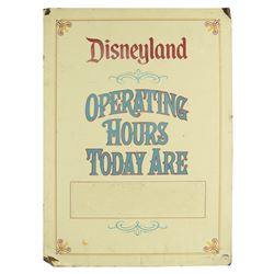 Disneyland  Operating Hours  Metal Sign.
