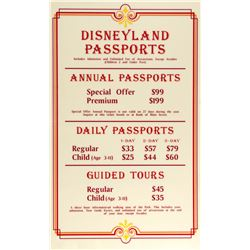 Disneyland Passports Price Sign.