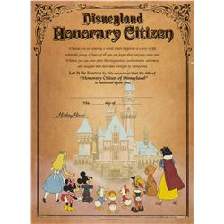 """""""Disneyland Honorary Citizen"""" Certificate."""