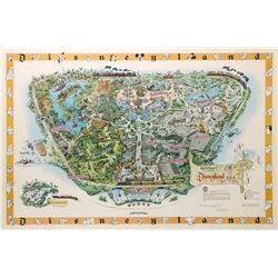 Never-Folded 1958-A Disneyland Map Signed by Sam McKim.