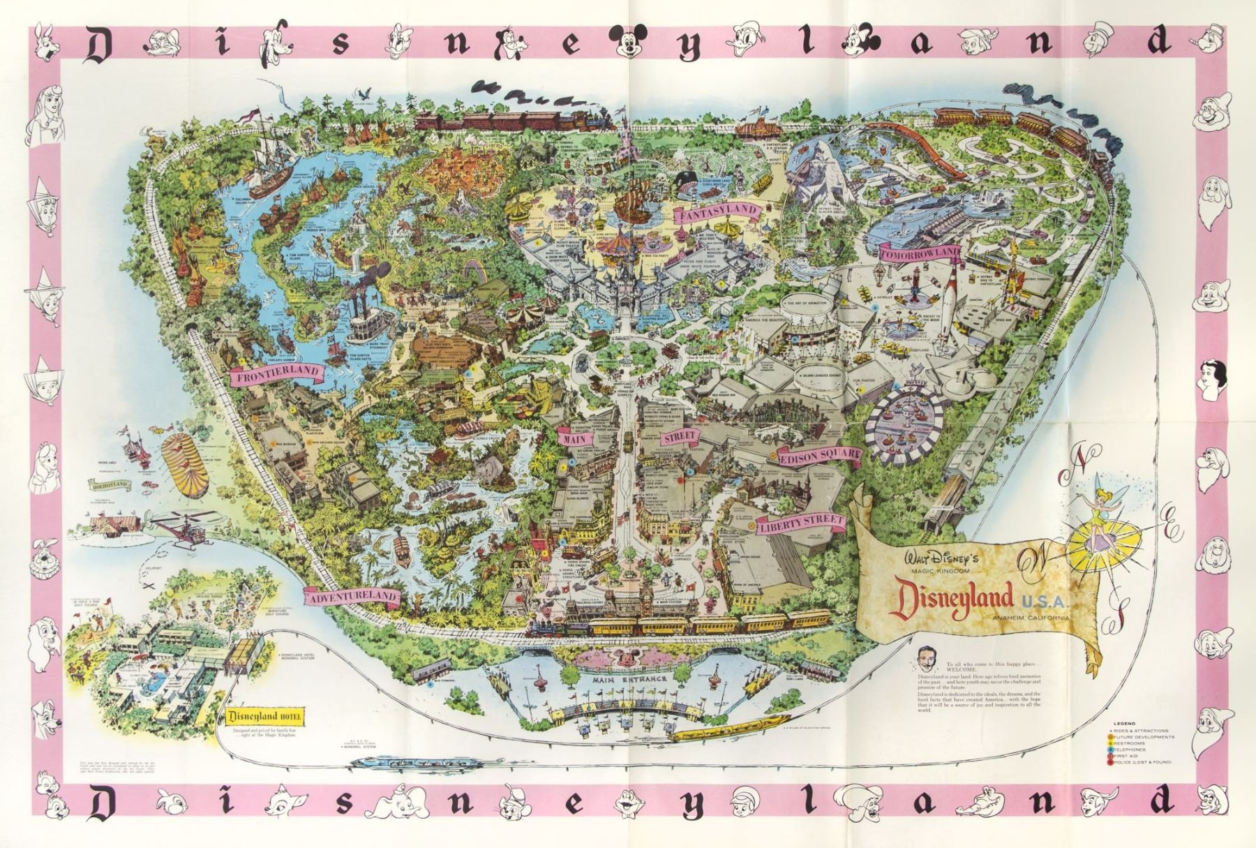 1961 Disneyland Map. on