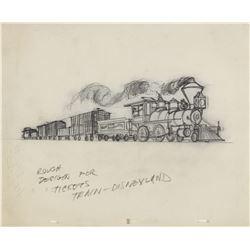 Original Illustration for Disneyland Railroad Tickets.