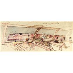 "Original ""Viewliner"" & ""Disneyland Railroad"" Drawing."