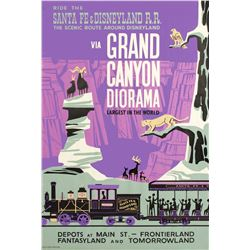 """Disneyland R.R. via Grand Canyon Diorama"" Attraction Poster."