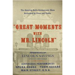 Great Moments with Mr. Lincoln  Attraction Poster.