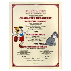 Plaza Inn Breakfast Menu Sign.