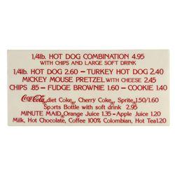 Disneyland Hot Dog & Pretzel Snack Sign.
