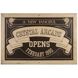 """Crystal Arcade"" Refurbishment Sign."