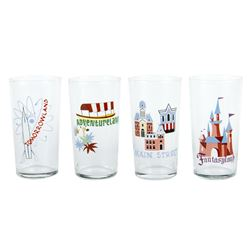 Collection of (4) Disneyland Souvenir Drinking Glasses.