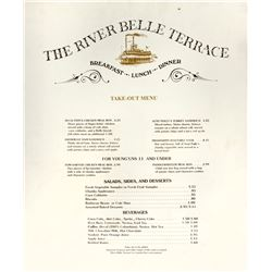 """River Belle Terrace"" Take-Out Menu Sign."