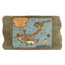 """Tom Sawyer Island"" Explorer's Map Wooden Sign."