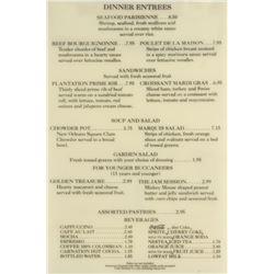 Cafe Orleans Dinner Menu Sign.