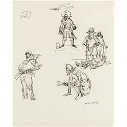 "Marc Davis Signed ""Pirates of the Caribbean"" Drawing."