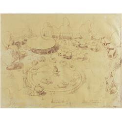 Signed Fantasyland Concept Brownline by Bruce Bushman.