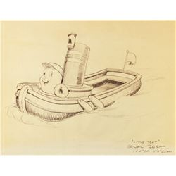 """""""Little Toot"""" Canal Boat Concept Brownline."""