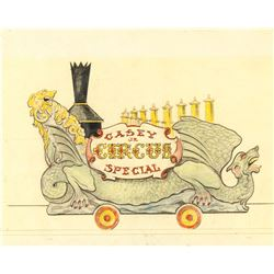"""Casey Jr. Circus Special"" Hand-Colored Concept Brownline."