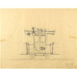 "Original ""Casey Jr. Circus Train"" Caboose Drawing."
