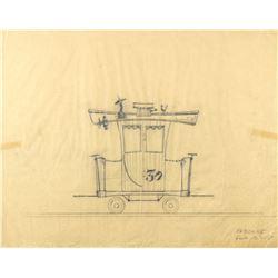 "Original ""Casey Jr. Circus Train"" Caboose Drawing."