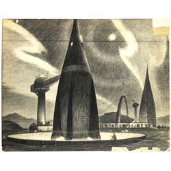 1954 Bruce Bushman Original Tomorrowland Drawing.