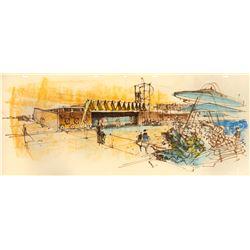 Original Herb Ryman Tomorrowland Concept Drawing.