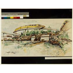 John Hench Signed Tomorrowland Print.