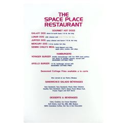 """The Space Place"" Restaurant Menu Sign."