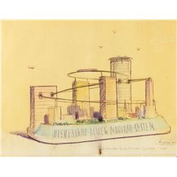 """Monorail System Float"" Hand-Colored Concept Brownline."