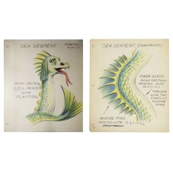 "Pair of ""Submarine Voyage"" Sea Serpent Painting Guides."
