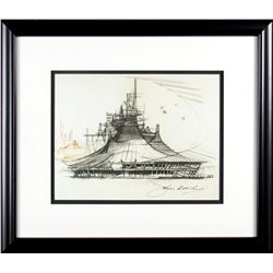 "John Hench Signed ""Space Mountain"" Concept Lithograph."