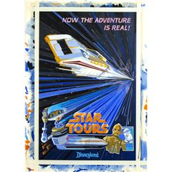 "Original Tim Delaney ""Star Tours"" Poster Painting."