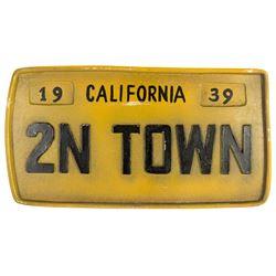 """2N TOWN"" Prop License Plate."