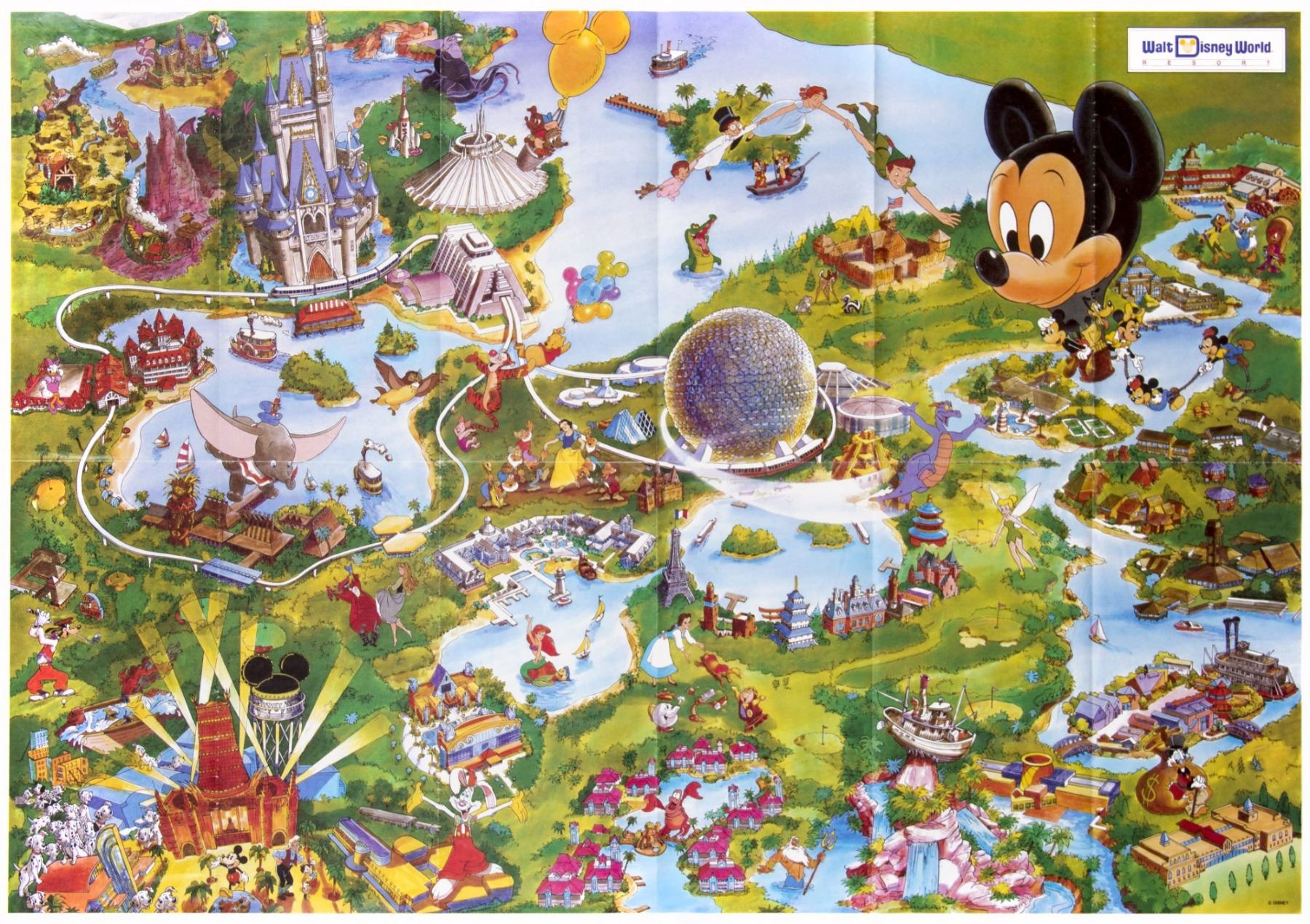 1992 Walt Disney World Resort Map.