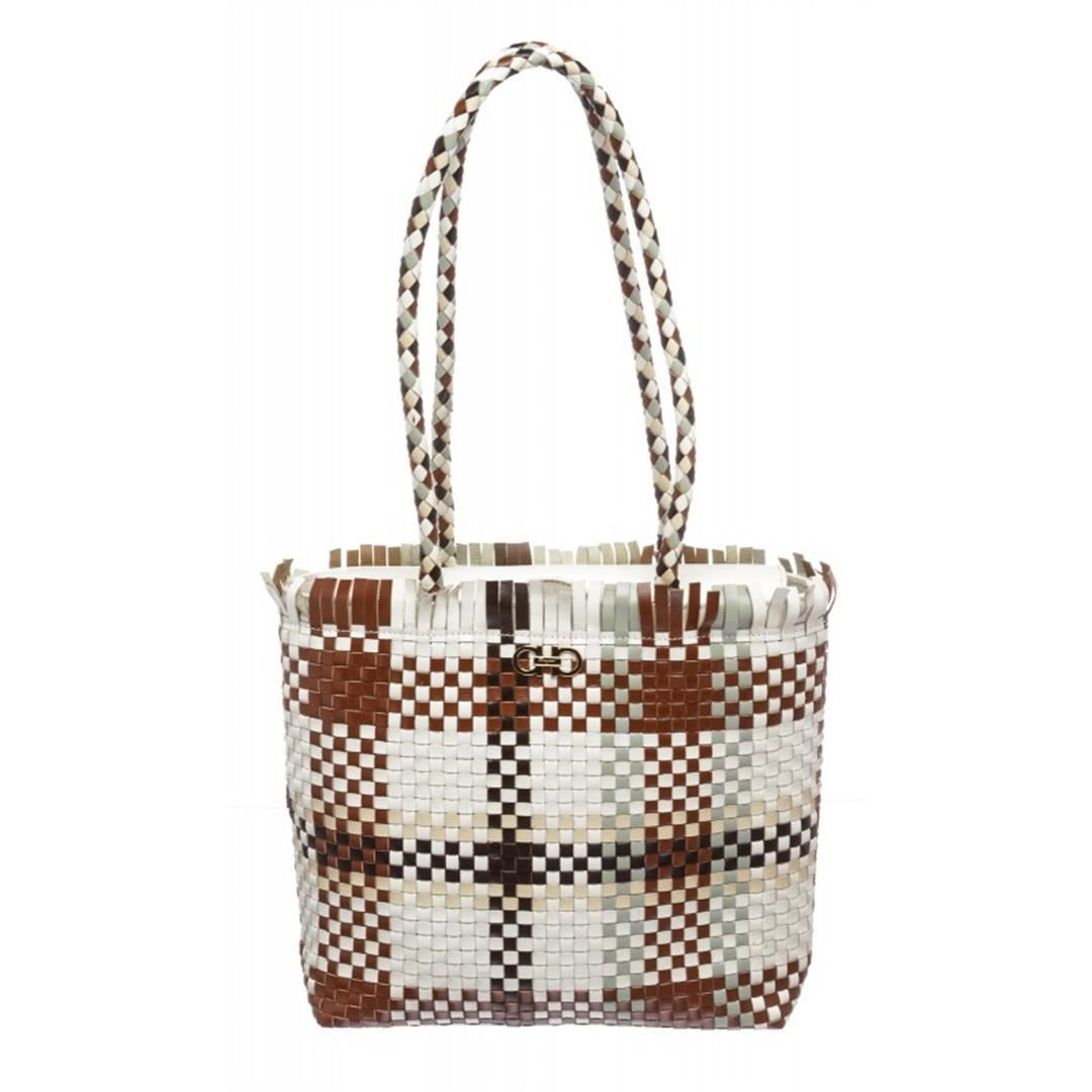 807020533679 Image 1   Salvatore Ferragamo Brown Multicolor Woven Leather Shoulder  Handbag ...