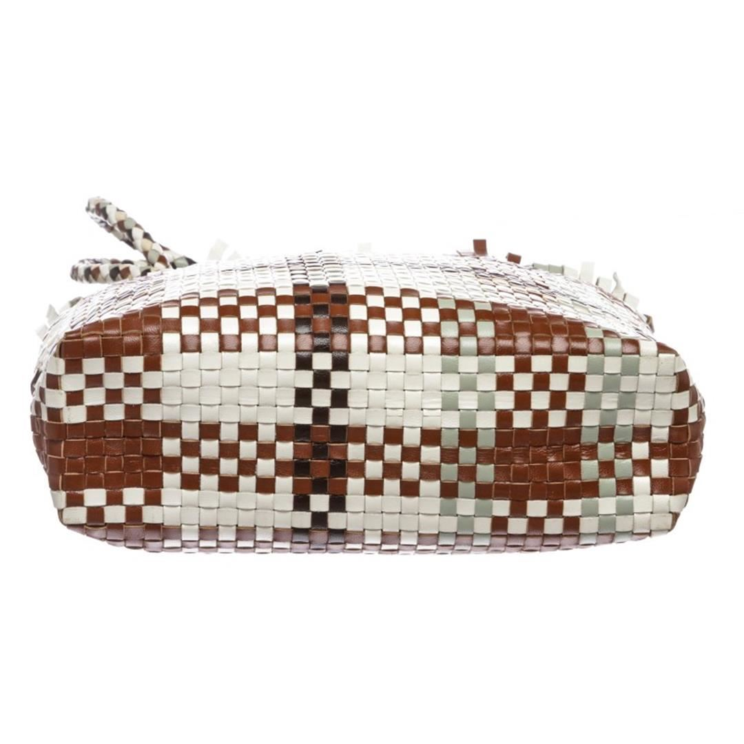 5600d2ea24ff Salvatore Ferragamo Brown Multicolor Woven Leather Shoulder Handbag