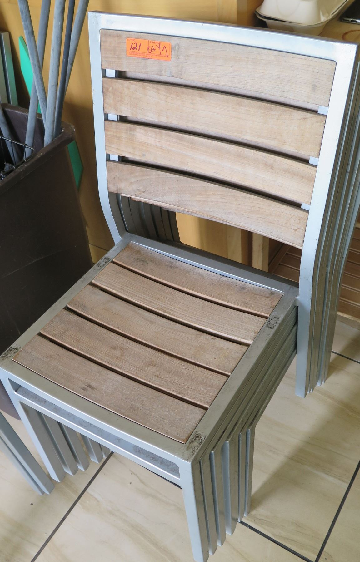 Qty 7 Aged Teak Chairs w/ Aluminum Frames - Oahu Auctions
