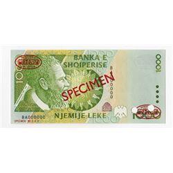 Banka e Shqiperise, 2001 Specimen Banknote.